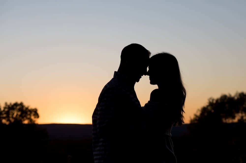 Fall sunset engagement session