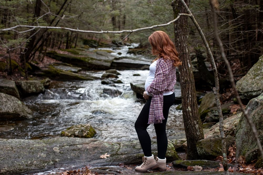pregnant woman in front of enders falls